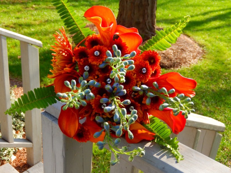 Orange Calla Lily and Blue Delphinium Bridal Bouquet