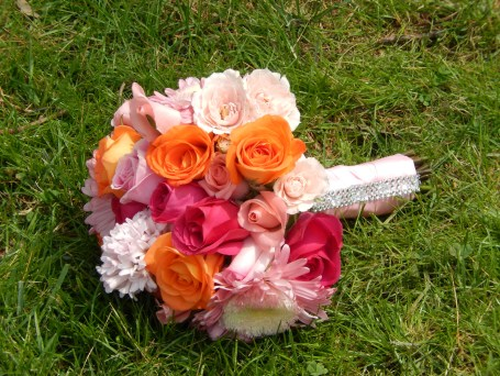 Summer Bridal Bouquet of pinks and orange Roses and Lilies