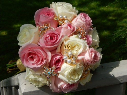 pink white and gold bridal bouquet
