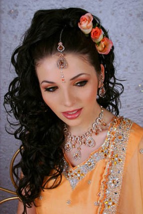 indian bridal hairstyles for long hiar with veil half up 2013 for short hair indian half up half