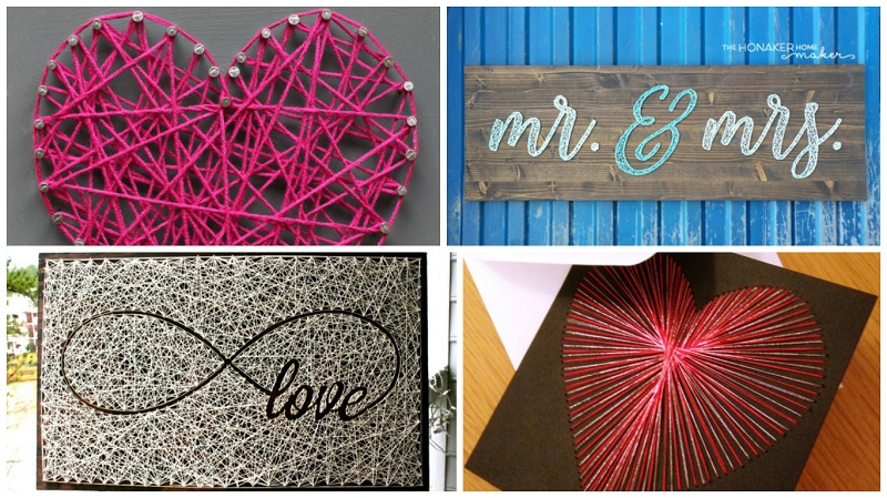 Introducing The Latest Wedding Dcor Trend String Art