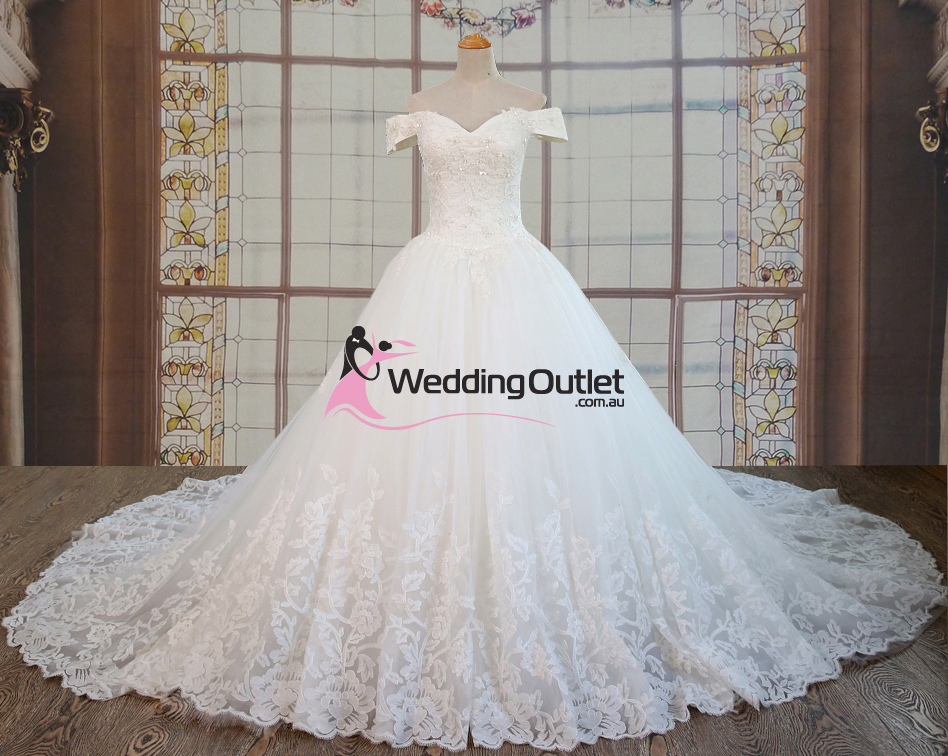 Eliana Ball Gown Lace Off Shoulders Luxury Wedding Gown