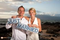 just married on maui at sunset beach