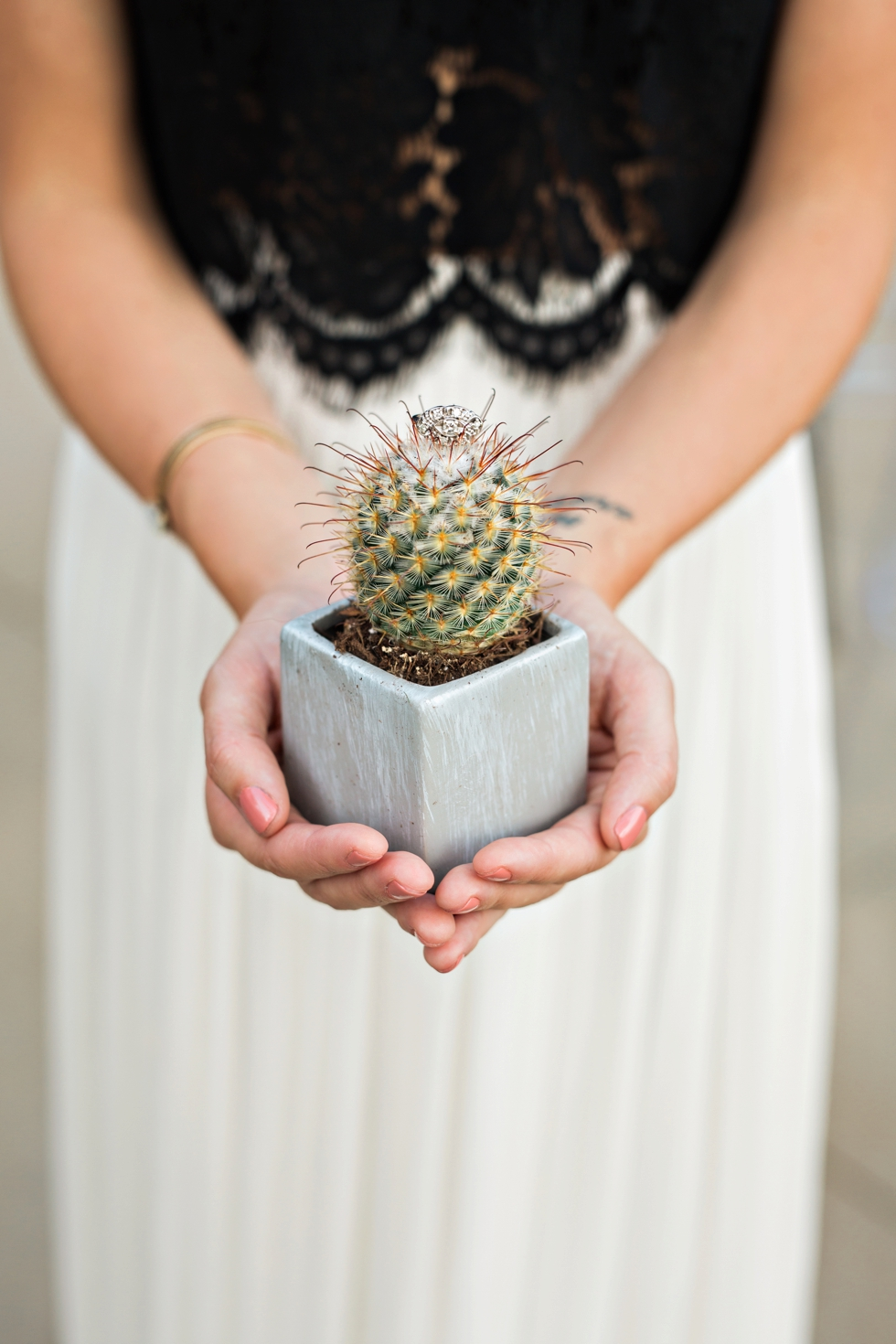 Southwestern Wedding Cactus Ring Shot