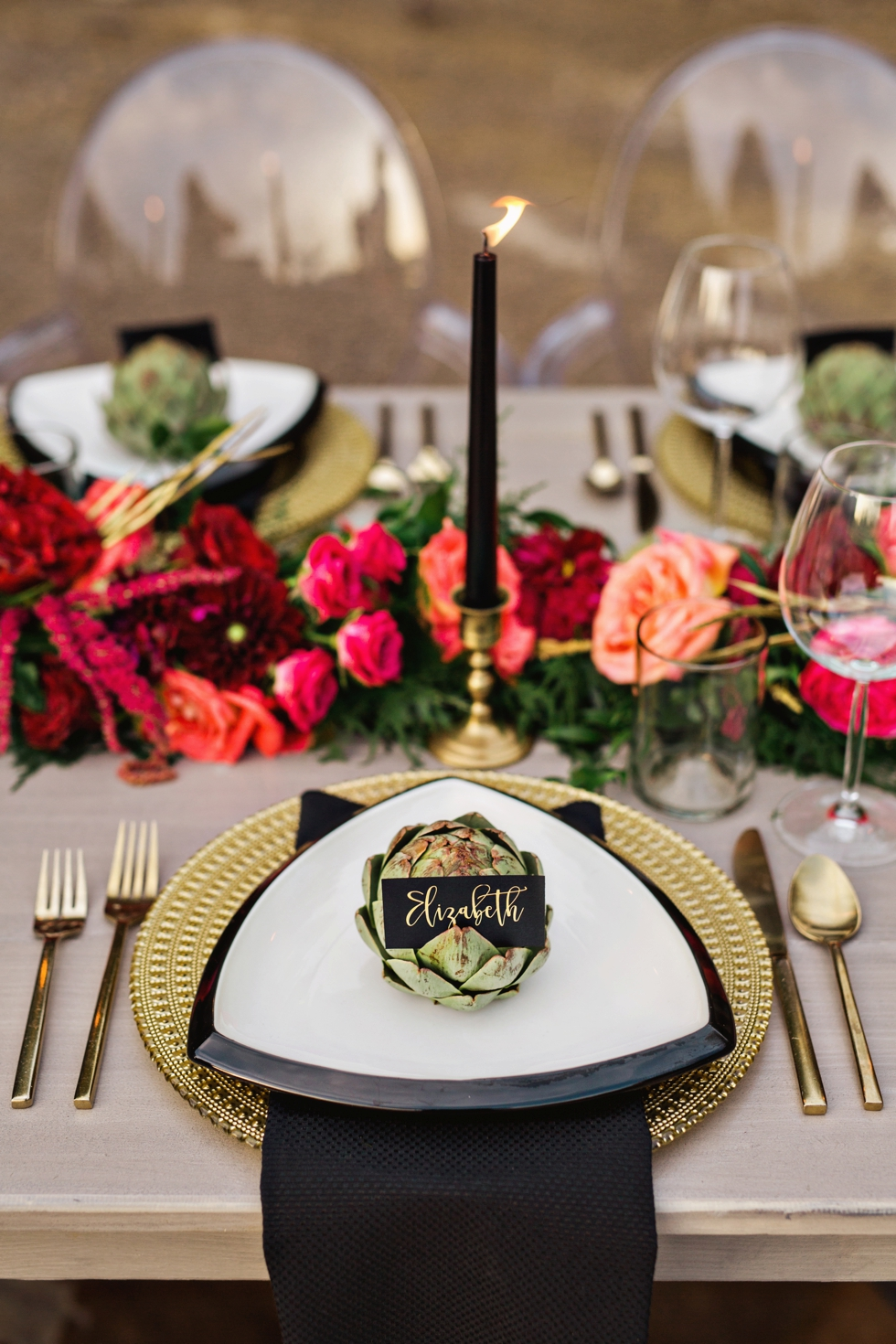 Artichoke Place Setting Red Flower Table Garland with Black Candles Graystone Quarry Nashville Weddings