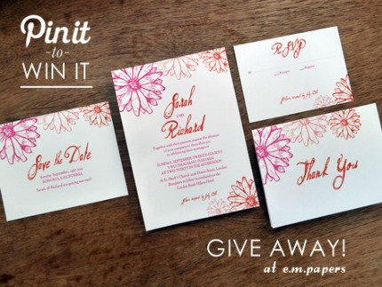 Wedding Printables Giveaway at e. m. papers