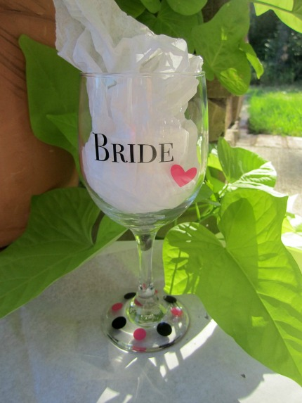TheWeddingMile.com Bride Wine Glass