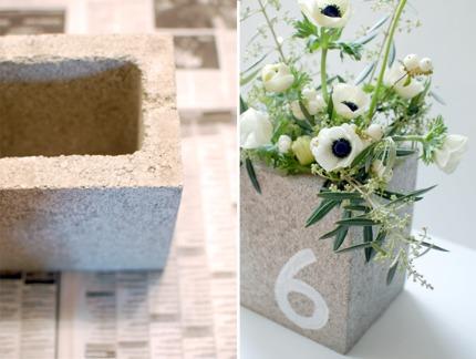 Concrete Cinder Block CenterpiecesTable Numbers via Yes, Please
