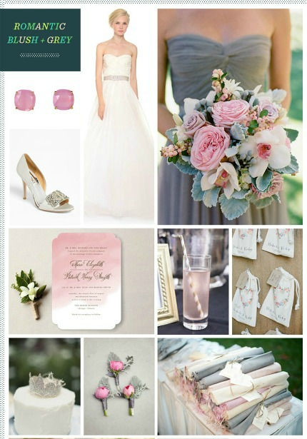Romantic Blush and Grey Wedding Inspiration via Revel Blog