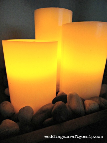 Target Wedding Flameless Bisque Candles with Tray & Rocks
