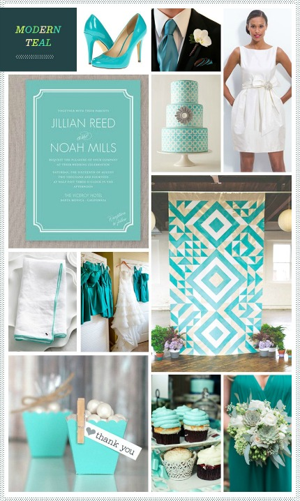 Modern Teal Wedding Inspiration via Revel