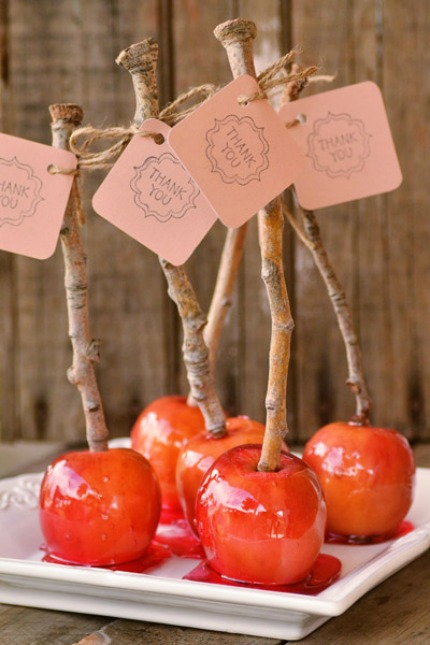 Candy Apple Wedding Favors via Intimate Weddings