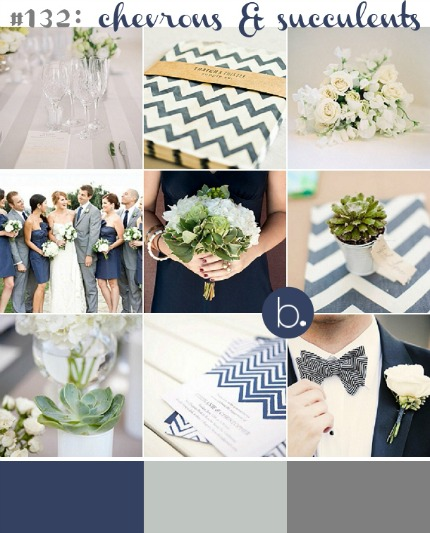 Chevron and Succulents Wedding Inspiration via b.loved
