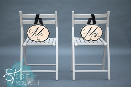 DIY Mr & Mrs Chair Signs via Something Turquoise with photo by Studio 11 Weddings