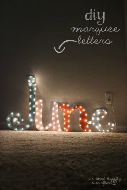 DIY Lighted Marquee Letters via We Lived Happily Ever After