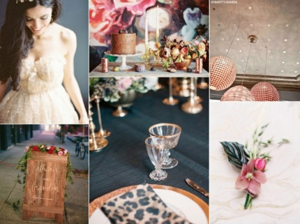 Eclectic Midnight Blue and Copper Wedding Inspiration via Burnett's Boards