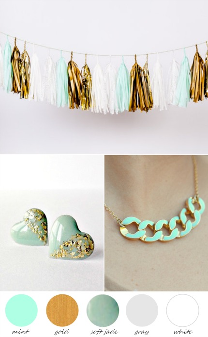 Mint and Gold Wedding Inspiration via The Perfect Palette