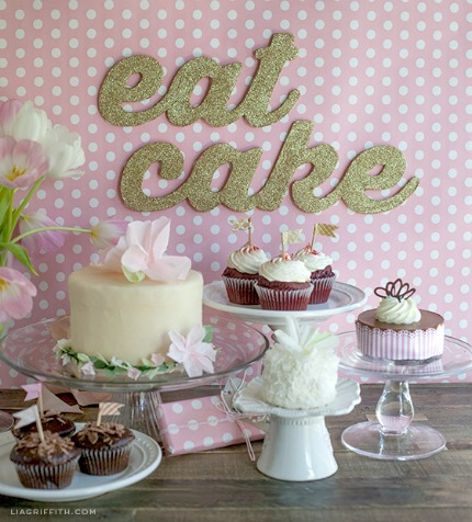 DIY Eat Cake Glitter Banner via Lia Griffith