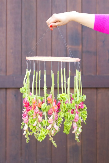 DIY Hanging Flower Chandelier via The Sweetest Occasion
