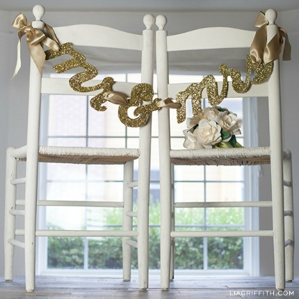 Mr. and Mrs. Glittering Wedding Banner via Lia Griffith