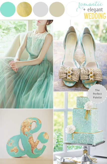 Mint and Glittery Gold Wedding Inspiration via The Perfect Palette