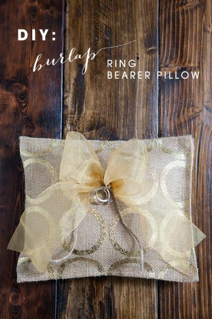DIY Burlap Ring Bearer Pillow via Something Turquoise