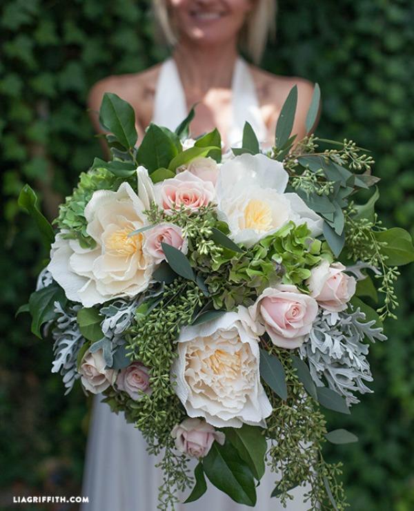 Diy Wedding Bouquets Ideas: DIY Bridal Bouquet With Fresh & Crepe Paper Flowers