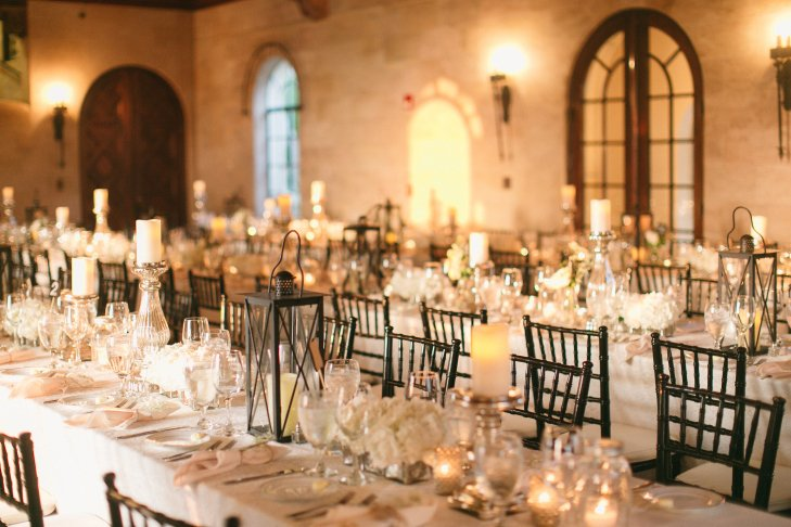 Reception Table with Wedding Flowers and Lanterns