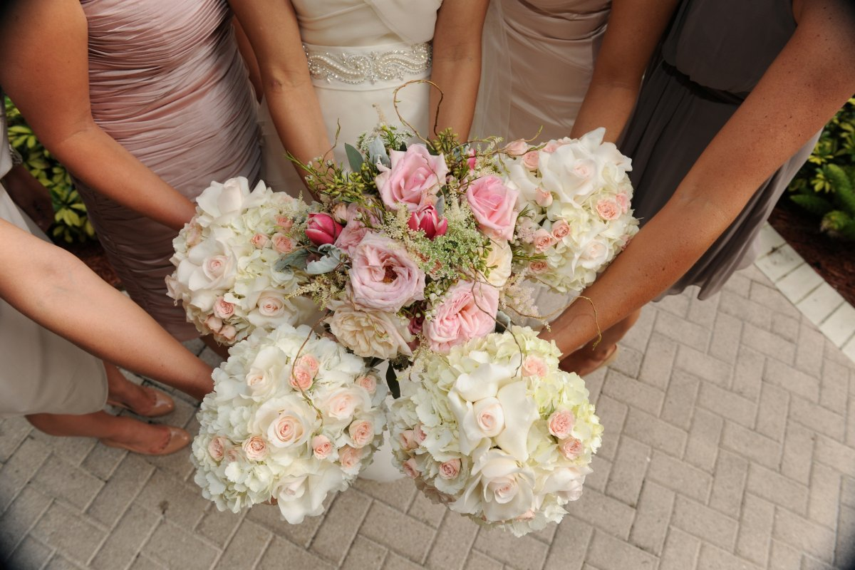 Bridesmaid Bouquets with Hydrangea, Blush Roses and Spray Roses