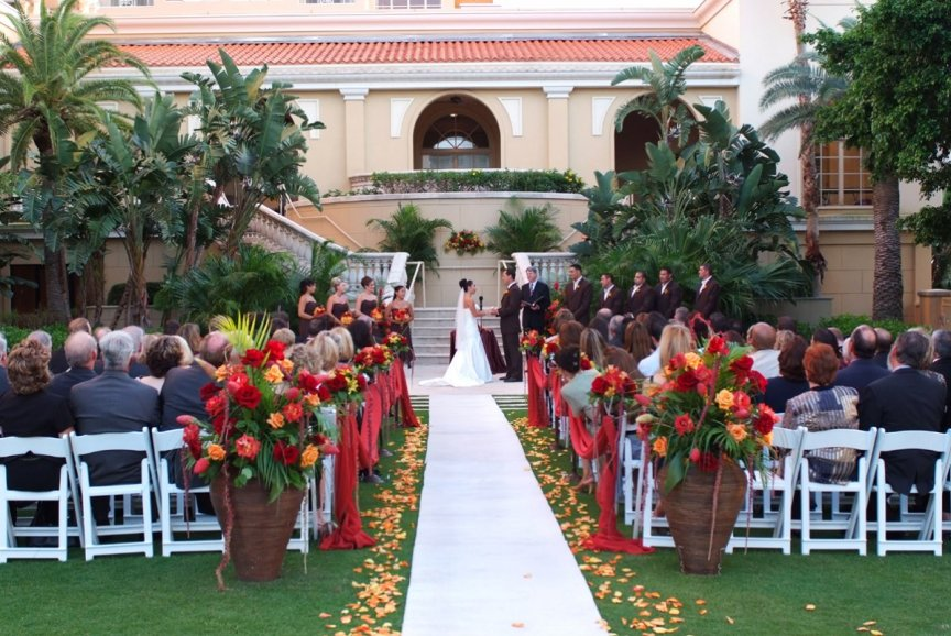 Wedding flowers at ceremony in Ritz Carlton's Healing Garden