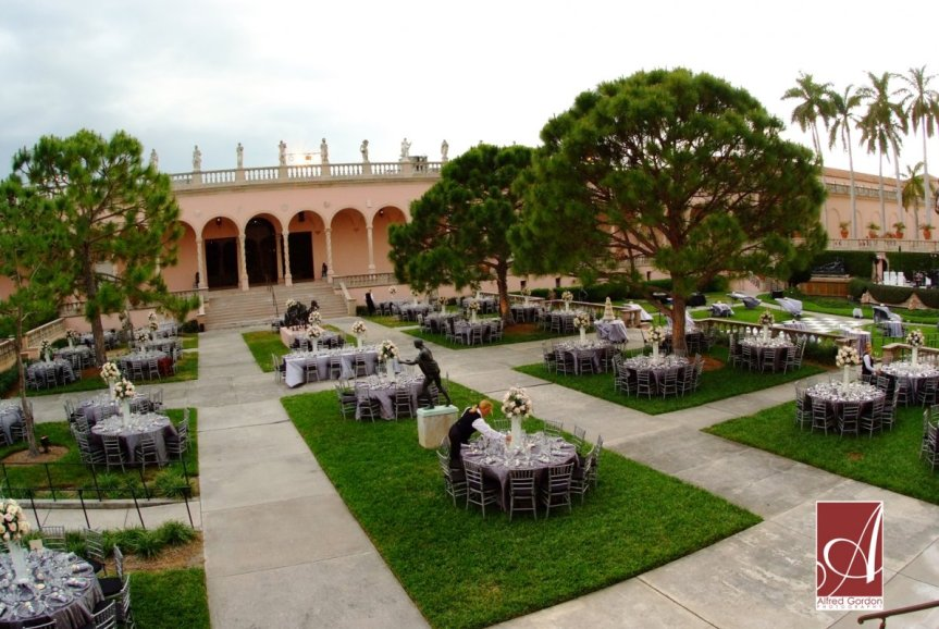 Preparing for Ringling courtyard wedding reception