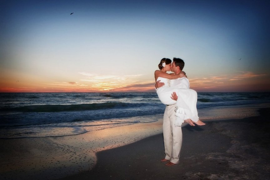 Bride and Groom in Sarasota Beach Wedding