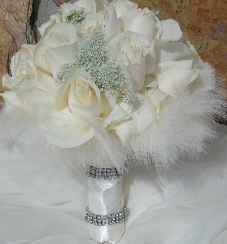 Bridal Bouquet of Queen Ann Roses with Feathers