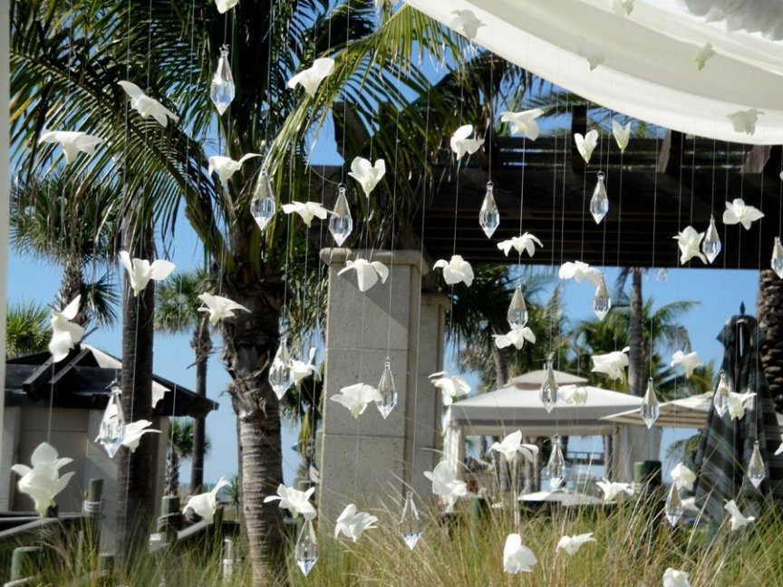 Canopy of Orchids and Crystals for Ritz Carlton Sarasota Wedding