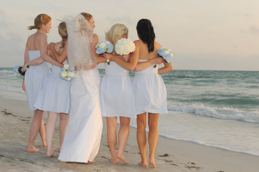 Bridal party at Longboat Key beach wedding