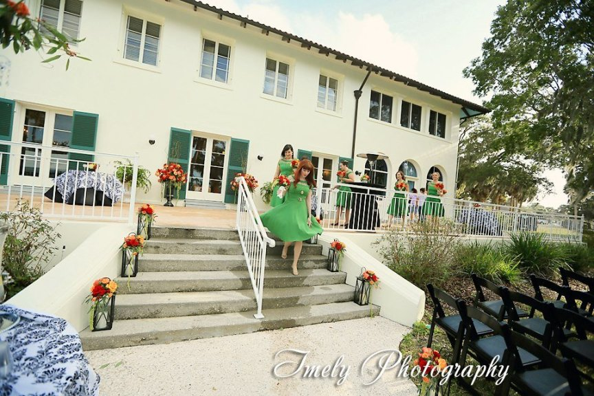 Bridal Party and Wedding Flower Arrangements at Philippi Estates in Sarasota FL