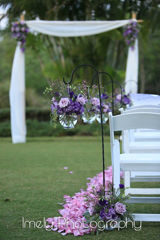 Ceremony Aisle with Shepherd Hooks and Rose Petals