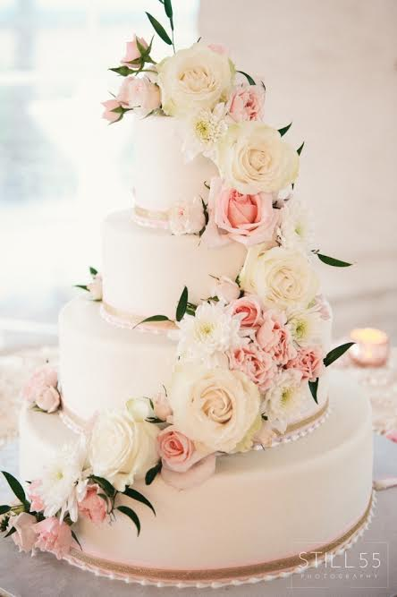 Wedding Cake with Peach and Cream Flowers
