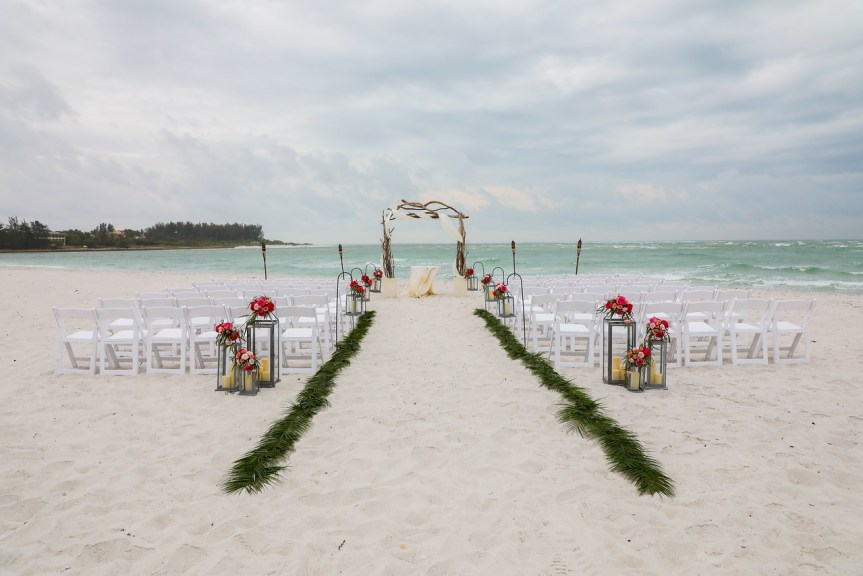 Ceremony site with Lanterns and Palm fronds