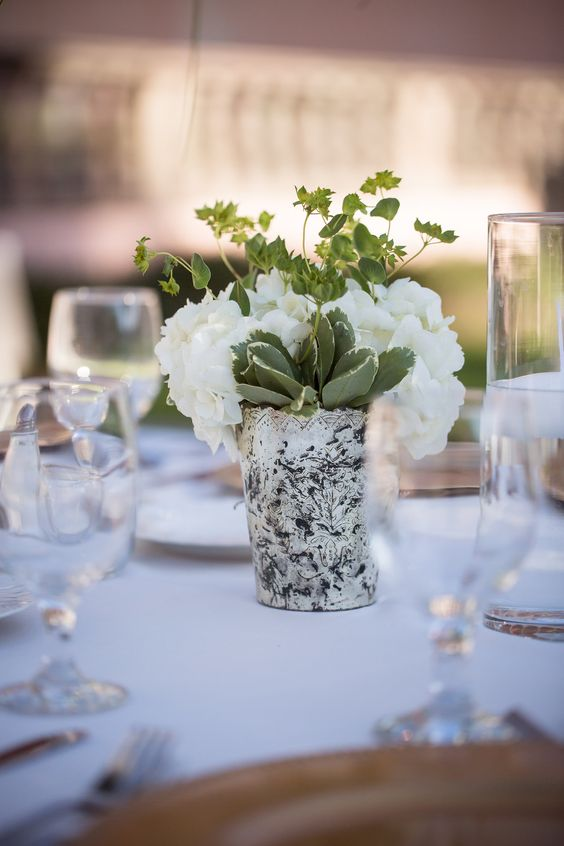 Centerpiece of Mercury Cup with Hydrangea and Greenery