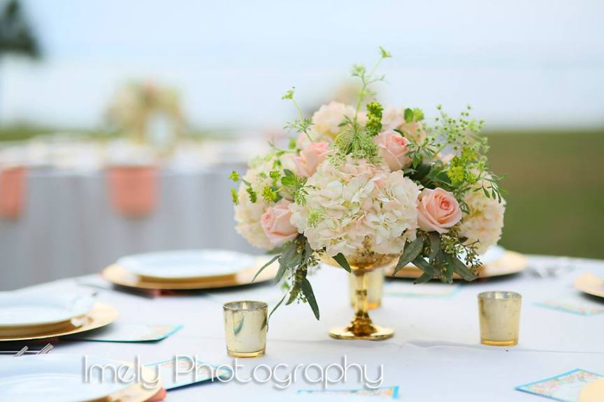 Gold-footed Mercury Bowl with Peach Hydrangea and Roses