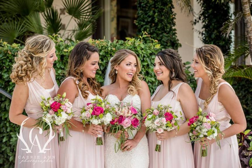 Bridal Party with Colorful Bouquets
