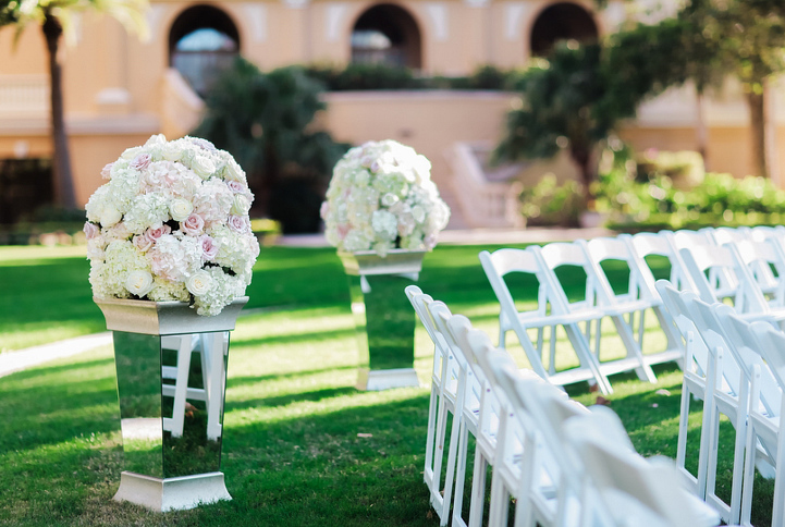 Floral  Arrangements of Mirrored Columns