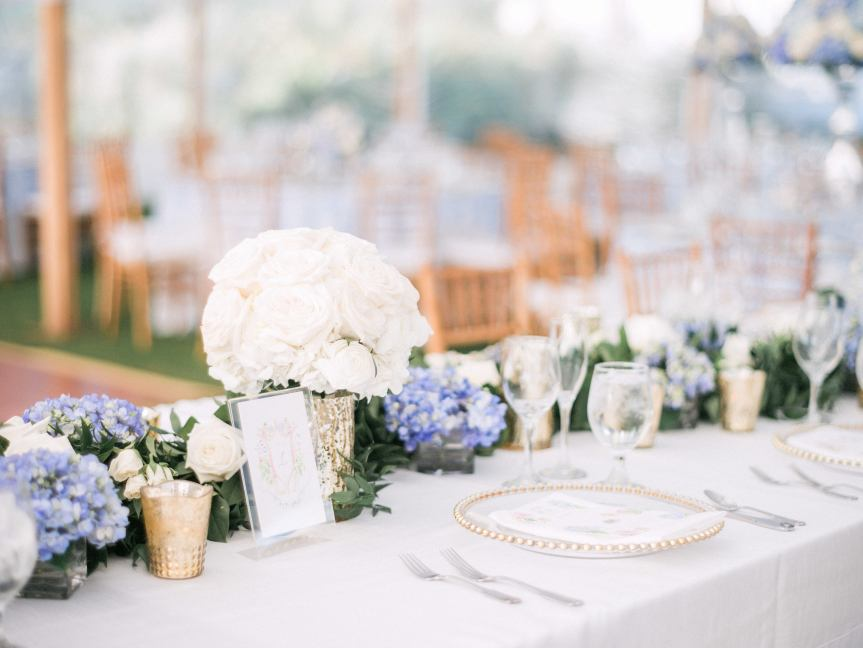 Head Table with Garland and Bridal Bouquet