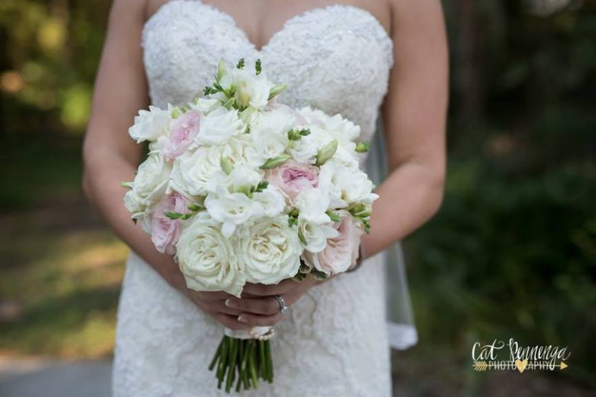 Bridal Bouquet of Plaza Blanca Pink Ohara Garden Roses and Freesia