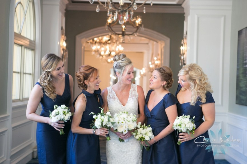 Bride and Bridesmaids with Garden Bouquets