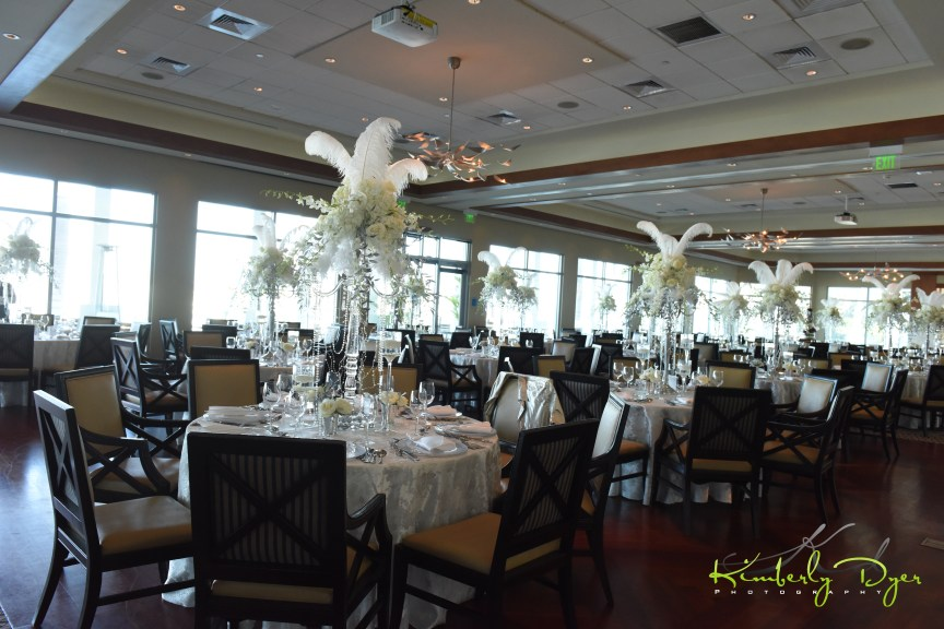 Club View of Great Gatsby Themed Birthday Party Elevated Centerpiece