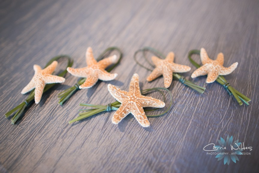 Starfish with Loop of Bear Grass Boutonnieres