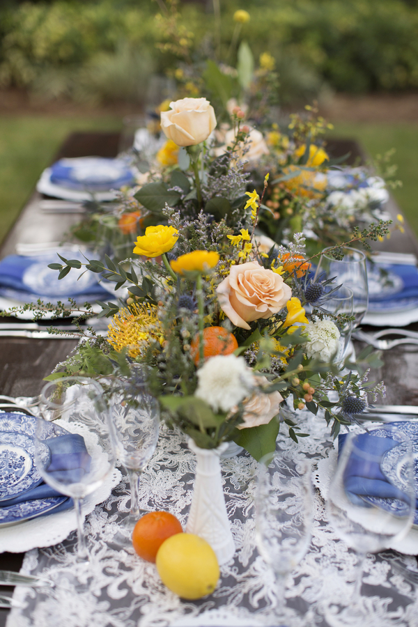 Mixed Spring Flower Feasting Table Centerpieces