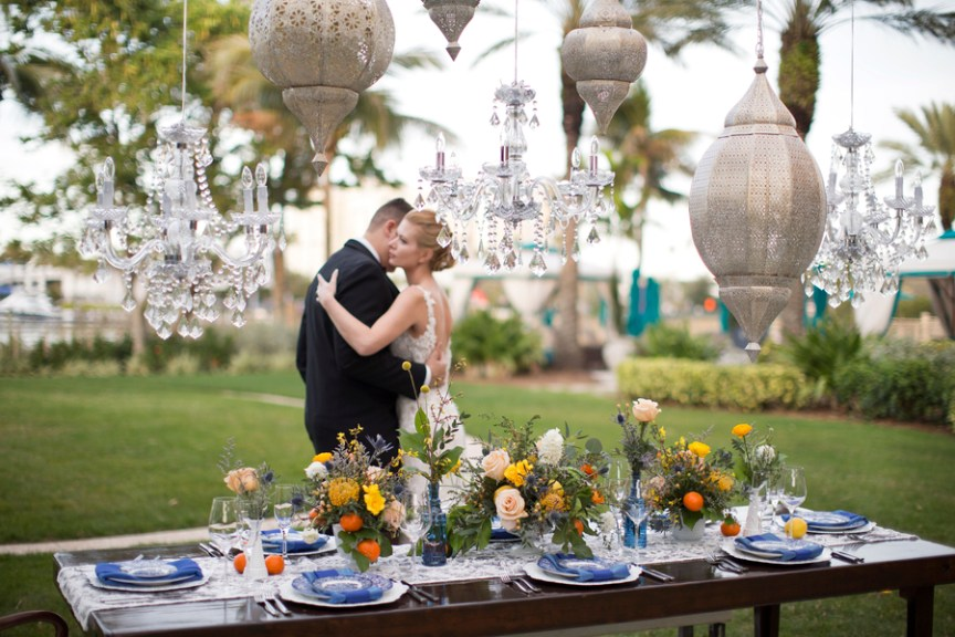 Vintage with Modern Floral Table Centerpiece with Bride and Groom